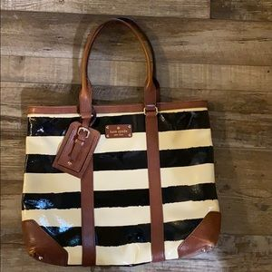 Kate Spade brown black cream tote with leather